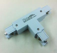 """""""T"""" Shape Connector: Three Circuit Track White"""